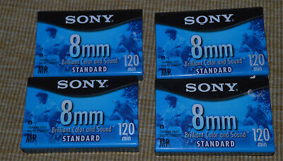 SONY 8mm 120 SP Camcorder Video 4 Cassette Tapes Sealed NEW
