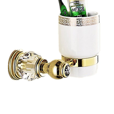 AUSWIND Gold and Crystal Toothbrush Holder 1 Cup Brass Wall Mounted False Crysta