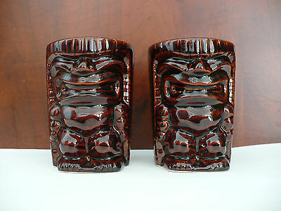 Tiki Coffee Tea Mug Set of Two Ceramic Brown 12 Ounces