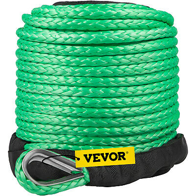 """VEVOR 5/16""""x100ft 12000LBS Synthetic Winch Rope Green Recovery Fairlead 4WD ATV"""