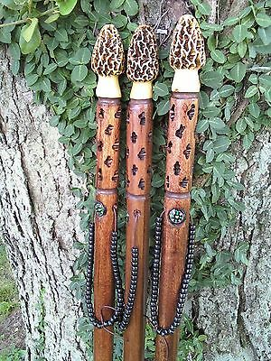 MOREL MUSHROOM WALKING HIKING STICK, Hand Carved, FISHING, HUNTING. Shroom Stick