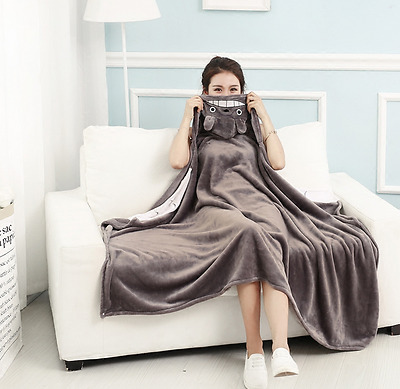 My Neighbor Totoro Blanket Cape Cloak NAP Coral fleece Cos Gift Big 90 x160CM #