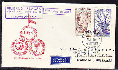 Czechoslovakia 1958 Sport  First Day Cover. - Addressed