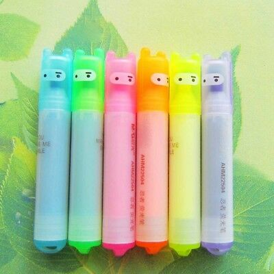 6 Farben/Set Cute Neon Highlighters Pen Tip Fluorescent Pens Markers Stationery