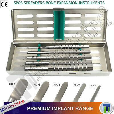 Dental Bone Spreaders / Expanders 'D' Shaped Spreading Chisels Implants X5 +Tray