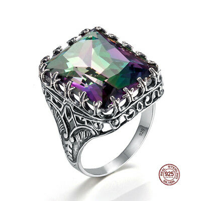 925 Sterling Silver Rings Rainbow Topaz Crystal Colorful Ring Jewelry for Women