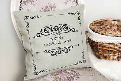 Wedding Anniversary Personalised Cushion CANVAS Wife Hubby Pillow Gift Idea ST36