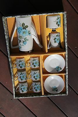 Vintage boxed set,coffee pot,sugar/creamer,cups/saucers x 6,made in Japan,floral