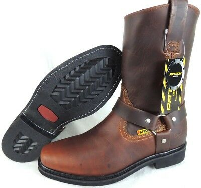 Men's Biker Work Boots Genuine Leather Square Toe Rodeo Brown Cowboy
