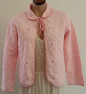 Vintage 1960s PASTEL PINK Quilted Nylon Lace Trim Long Sleeve Bed Jacket size 10