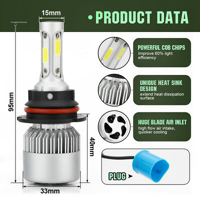 9004 HB1 72W 8000LM LED Conversion Kit Bulbs 6500K White Power Front Light Lamp
