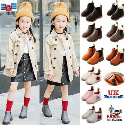Kids Boys Girl Winter Warm Chelsea Ankle Boots Infant Faux Leather Shoes New UK