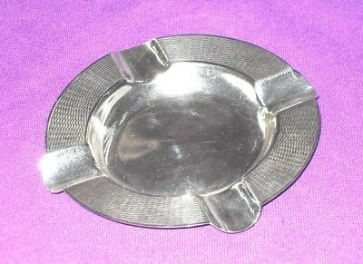 Stylish Art Deco Style  Sterling Silver Ashtray Engine Turned Design Antique