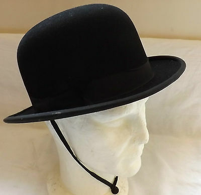 Original Vintage Gentlemen's Black Bowler Hat Army & Navy Size 7 Medium (1975)