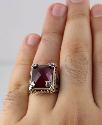 Handmade 925 Sterling Silver Jewelry  Red Ruby Men's Ring All Size