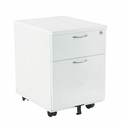 Jemini 2 Drawer White Mobile Pedestal KF74147 [KF74147]