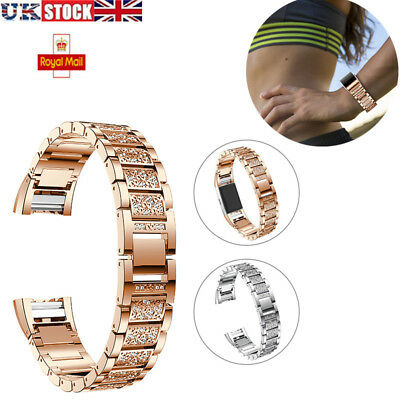 Watch Crystal Stainless Steel Watch Band Wrist Strap For Fitbit Charge 2 UK