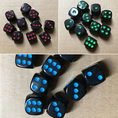 10pcs 16mm Acrylic Round Corner D6 Dice 6 Sided Portable Table Games Party Tool