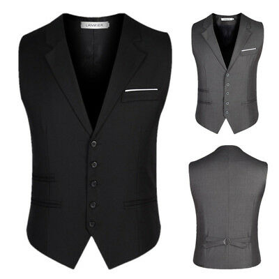 Mens Trendy Formal Business Slim Fit Chain Dress Vest Suit Tuxedo Waist Coat