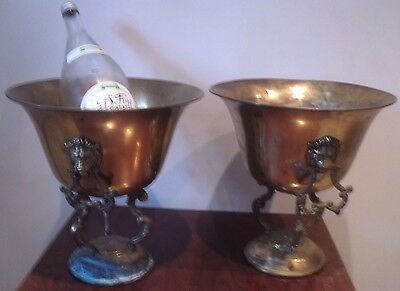 PAIR OF ANTIQUE DECORATIVE  Brass JARDINIERE PLANTERS WINE CHAMPAGNE COOLERS