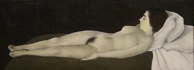 Fine Large Circa 1900 Nude Lady Reclining Sleeping Portrait Antique Oil Painting