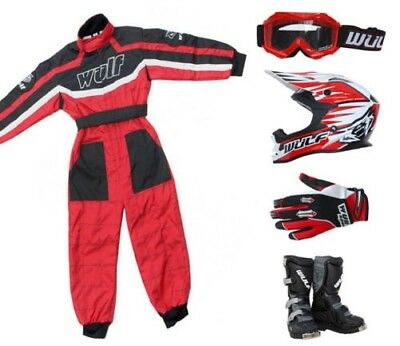 Kinder Wulfsport MX Motocross, Overall, Helm, Stiefel, Handschuhe, Brille, rot #