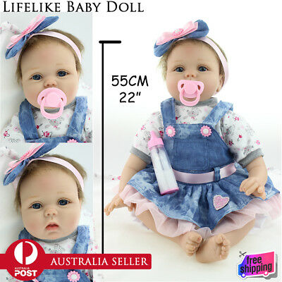 "22"" 55cm Handmade Newborn Baby Vinyl Silicone Realistic Real Look Reborn Doll"