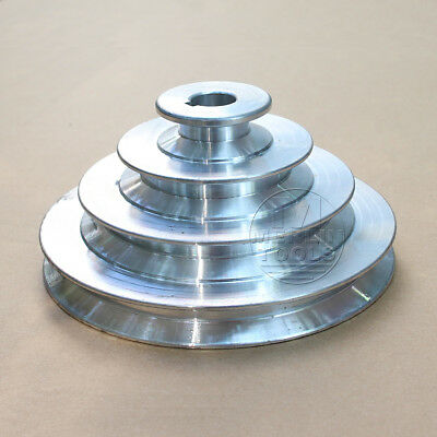 "OD 130mm, 4 Step Pulley 16mm Bore for 1/2"" = 12.7mm  Belt width - Cast Aluminum"