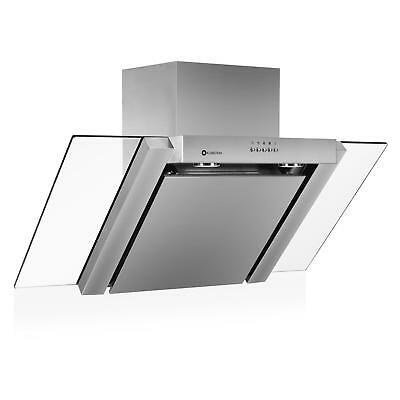 NEW 90CM AIR EXTRACTOR FAN GLASS COOKER HOOD 2x LED LIGHTS STAINLESS STEEL