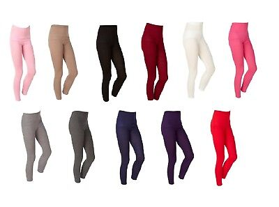 Girls Kids Childrens Plain Stretchy Cotton Leggings Ages 3 to 13 - 13 Colours