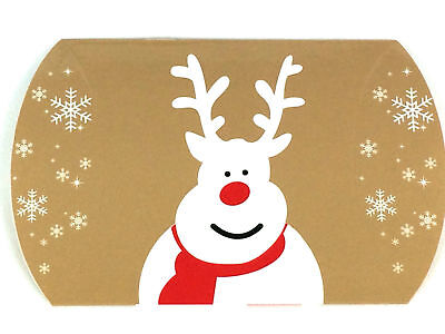 12 Pack Reindeer Print Pillow Gift Boxes Christmas Design Fold Flat Jewellery
