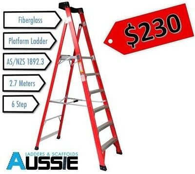 *PRICE REDUCED* Fibreglass Platform 2.7m Industrial Ladder -1.7m Platform Height