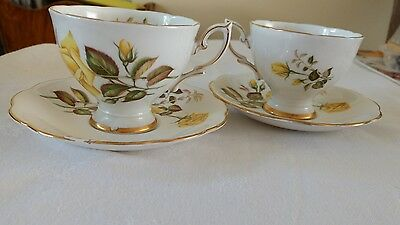 2x Yellow Rose Fine Bone China, Tea Cup & Saucer Excellent Vintage Condition