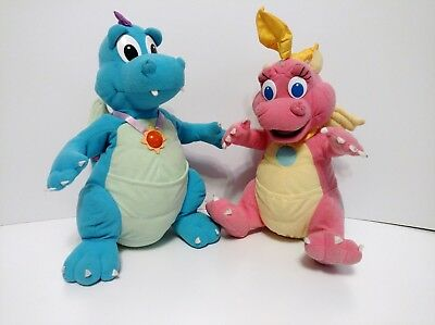 """Dragon Tales 14"""" Talking Light Up ORD & Poseable CASSIE Plushes Playskool 1999"""