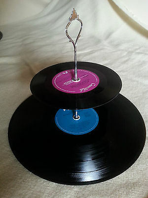 Vinyl Record Cupcake Stand 2 Tier Retro Rockabilly Rock n Roll Cake 50s 60s 70s