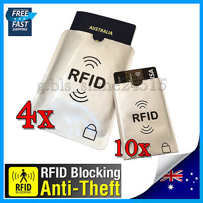 4xL+ 10xS RFID Block Secure Sleeve Passport Credit Card AntiScan Protect Holder