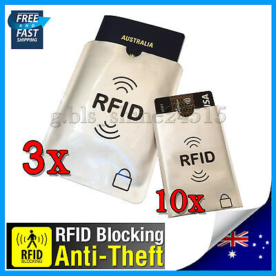 3xL+ 10xS RFID Secure Sleeve Passport Credit Card AntiScan Protect Case Holder