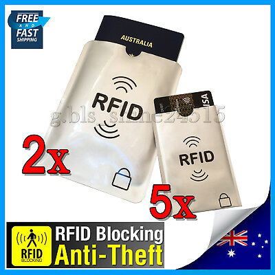 2xL+ 5xS RFID Secure Sleeve Passport Credit Card AntiScan Protect Case Holder