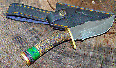 "8"" Custom Hand Made Damascus Steel Hunting Bowie Knife Deer Antler Handle W/case"