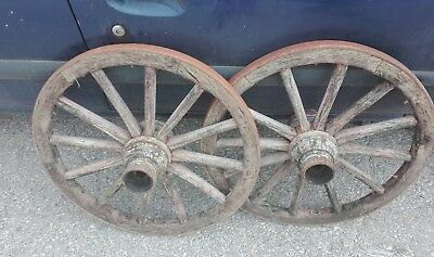 Set of 2 vintage old wooden wagon cart wheel wheels 64cm FREE DELIVERY