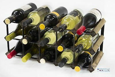 Classic 15 bottle walnut stained wood and black metal wine rack ready to use