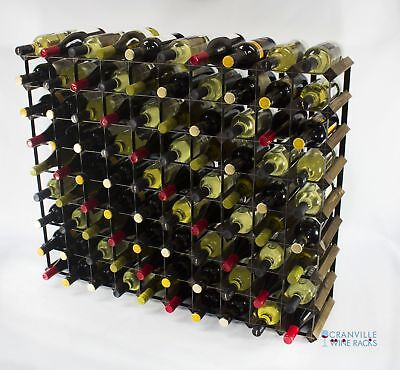 Classic 90 bottle walnut stained wood and black metal wine rack ready to use