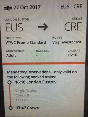 London Euston to Crewe: 27th October @ 16.10 ------ 2 Adults + 2 Child Tickets
