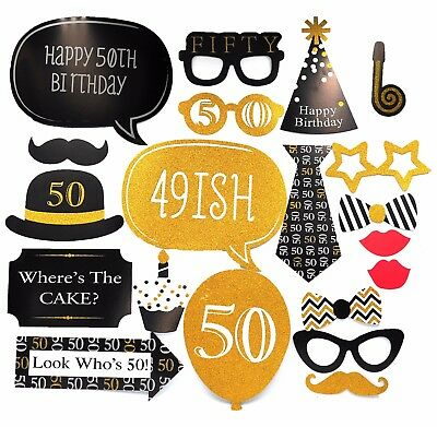 20 X 50th Large Photo Booth Props Moustache Birthday Party Favour Kit DIY