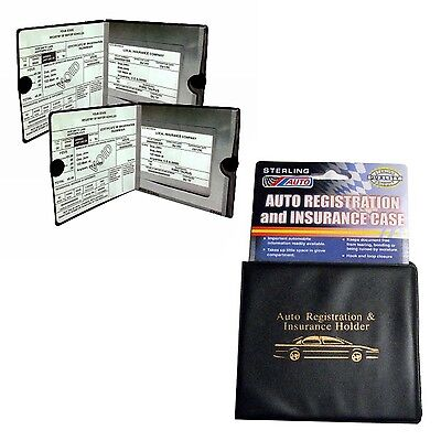 Car Auto Insurance Registration Card Documents Wallet Holder Case Vehicle 2 Pack
