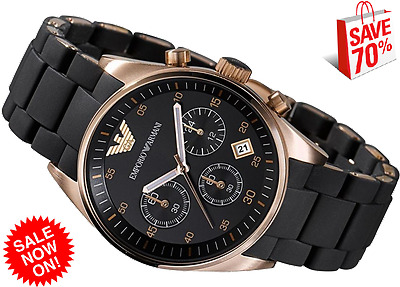 Brand new EMPORIO ARMANI  AR5905 ROSE GOLD  BLACK CHRONOGRAPH MEN'S WATCH