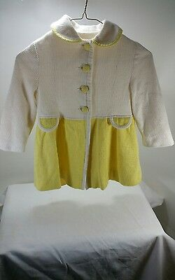 Vintage Girl's Pea Jacket ILGWU Made Yellow and Cream