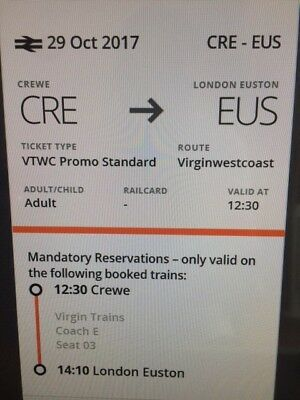 Crewe to London Euston: 29th October @ 12.30 ------ 2 Adults + 2 Child Tickets