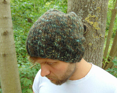Shaded Green Men's Hat Wool Chunky Slouchy Beanie Hat Knit Hat For Men Cap Boys