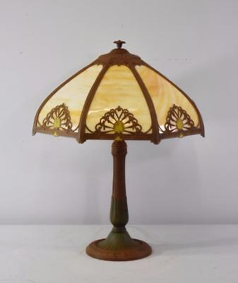 Antique Bent Slag Glass 8 Panel Table Lamp Two Sockets A & 7 R Co.